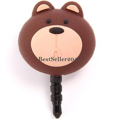 Lovely 3.5mm Little Bear Anti Dust Earphone Jack Plug Stopper Cap for Phone