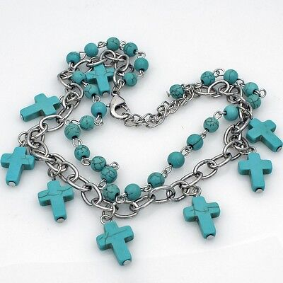 Turquoise Blue Cross Rhinestone Western Cowboy Cowgirl Boot Strap Anklet Jewelry