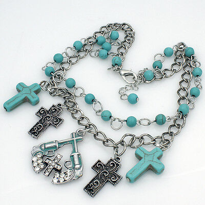 Bhw Cross Gun Pistol Turquoise Western Boot Anklet Chain Charm Jewelry 1126