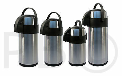 3L / 5L Litre Stainless Steel Pump Action Airpot Hot & Cold Tea Coffee Flask Bn