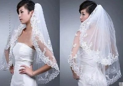 White/Ivory 2 Layers Bridal Wedding Veils With Lace