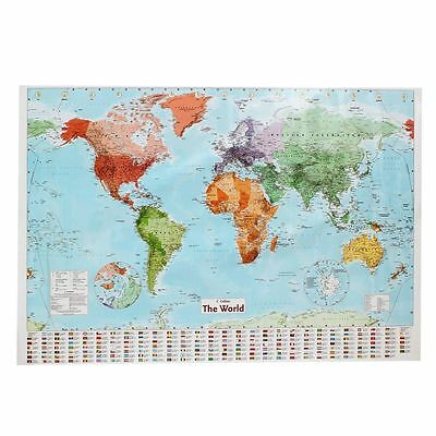MAP OF THE WORLD With Country Flags 97.5 X 67.5cm - Useful Teaching Poster Chart