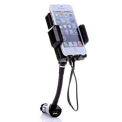 FM TRANSMITTER HOLDER CHARGER HANDS FREE CAR 8PIN PLUG FOR iPHONE 5 HTC