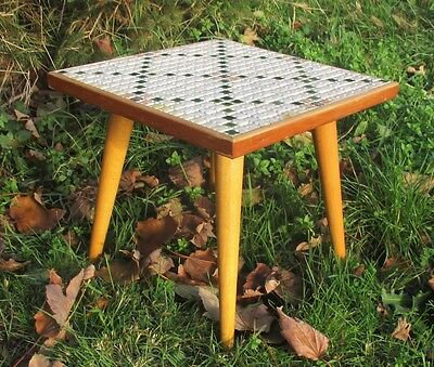 Vintage  Small Side Table Plant stand Mosaic tiles Wood