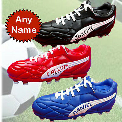 FOOTBALL BOOT STYLE MONEY BOX  PERSONALISED WITH ANY WITH NAME OR INITIALS free