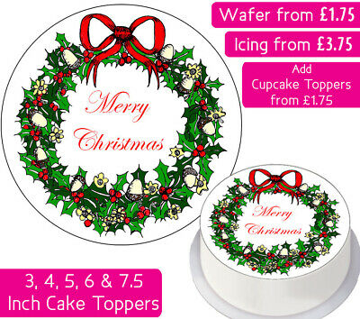 Christmas Wreath Edible Wafer & Icing Cake Toppers Festive Merry Happy Xmas