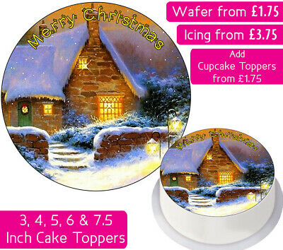 Christmas House Edible Wafer & Icing Cake Toppers Merry Happy Festive Party Xmas