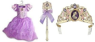 NWT Disney Store Rapunzel Tangled Costume Set ⅚ with Gown Tiara Light-Up Wand