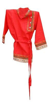 Russian National Boy's Shirt Red Kosovorotka