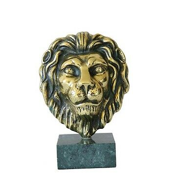 Lion Head New SOLID BRASS / BRONZE ART SCULPTURE ON MARBLE BASE Gift