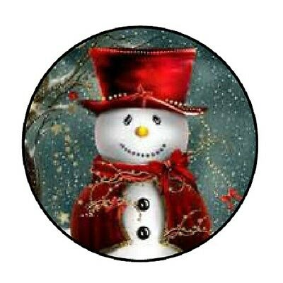 """48 Christmas Snowman Red !!!  ENVELOPE SEALS LABELS STICKERS 1.2"""" ROUND"""
