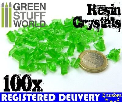 GREEN Resin Crystals - for Miniature Bases Warhammer Model Scenery Landscape