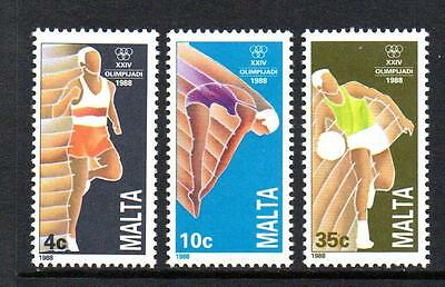Malta Mnh 1988 Sg836-838 Olympic Games - Seoul Set Of 3