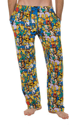 Adult Animated Sitcom The Simpsons Multi Character Collage Blue Lounge Pants