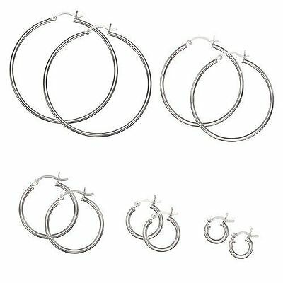 .925 SOLID STERLING SILVER PLAIN 2MM THICK POLISHED ROUND HOOP  EARRINGS,10-70mm