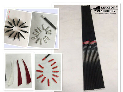 "12set carbon arrow shaft 32"" ID6.2mm SP500 feather nock insert point for DIY"