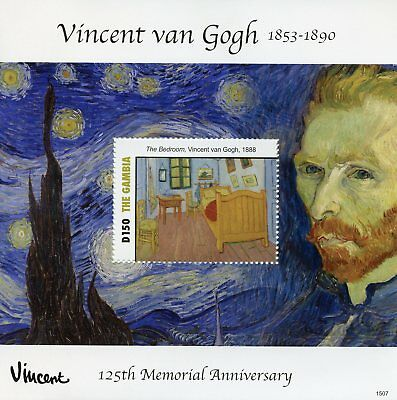 Gambia 2015 MNH Vincent Van Gogh 125th Memorial Anniv Bedroom 1v S/S Art Stamps
