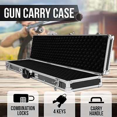 NEW Hard Gun Case Safe Rifle Shotting Box Portable Carry Hunting Lock Double