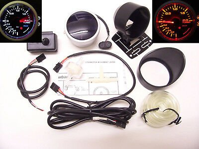 RSR Ladedruck Anzeige + ALARM 52mm Stepper Smoke Boost Gauge 16V 1,8T VR6 Turbo