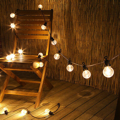Connectable 20 Led Plug In Outdoor Garden Festoon Clear Bulb Fairy String Lights