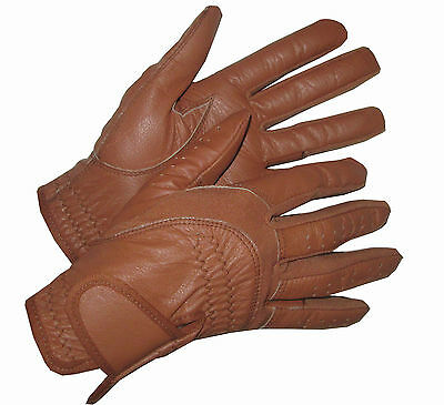 Ladies Tan or Brown Leather Competition Gloves Horse Riding small medium lge