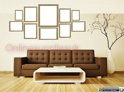 Oak 10 Piece Multi Picture Frame Photo Frame Collage Wall Hanging Table Set