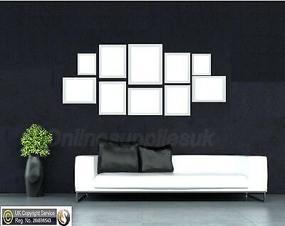 White 10 Piece Multi Picture Frame Photo Frame Collage Wall Hanging Table Set