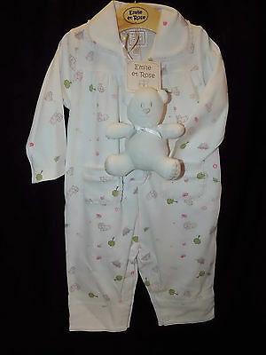 New Emile et Rose Baby Girls Pyjamas all in one 3-6 or 6-9 months inc teddy