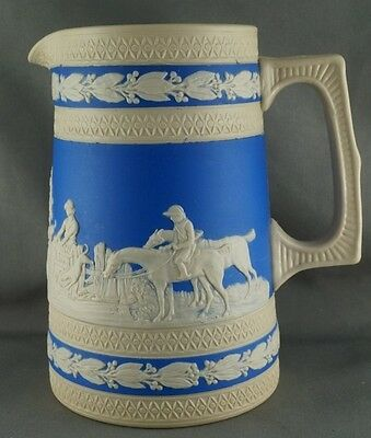 Copeland Spode Foxhunt Dog Hunting Scene Pitcher Jasperware