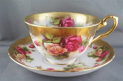Royal Chelsea Golden Rose Cup & Saucer Heavy Gold