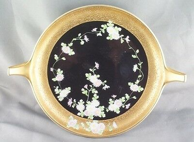 Vintage Noritake Handled Black Vine Floral and Heavy Gold Candy Dish M Wreath