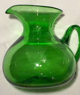 Antique Blown Green Glass Large Water Pitcher Fancy Three-Prong Handle Bulbous
