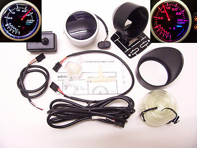 RSR Ladedruck Anzeige 3BAR + ALARM 52mm Stepper Smoke Boost Gauge 16V VR6 Turbo