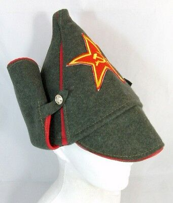 Russian Hat Soviet Red Army Old Style Wool Budenovka Embroidered Ussr Star Badge