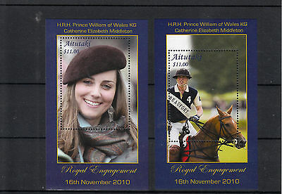Aitutaki Cook Islands 2011 MNH Royal Engagement Prince William Kate 2v Deluxe SS
