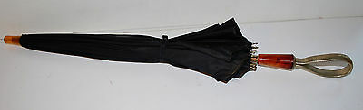 Vintage Black Silk Umbrella Parasol Celluloid Handle With Wrist Band