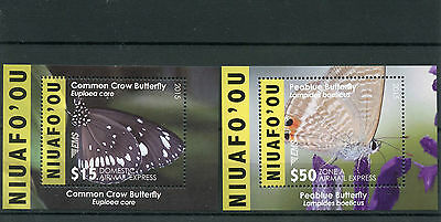 Niuafo'ou 2015 MNH EMS Part 1 Butterflies 2v Deluxe MS Insects Peablue Butterfly