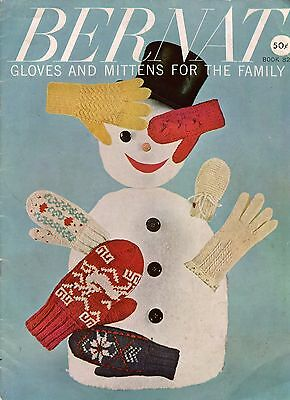 Bernat 82 Gloves Mittens Family Knitting Patterns Cable Fair Isle Angora 1959