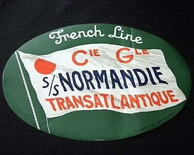 FRENCH LINE SS NORMANDIE Green Luggage Tag