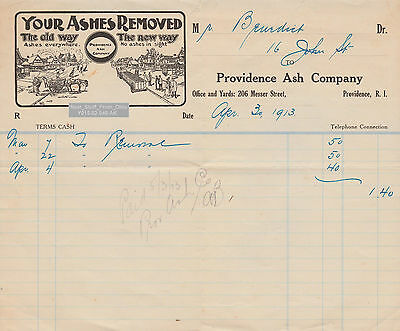 PROVIDENCE ASH REMOVAL COMPANY - FOR DR. GEORGE W. BENEDICT of BROWN UNIV. c1913