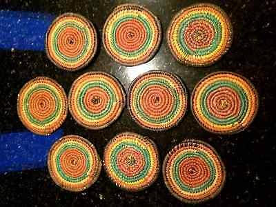 """Nigerian African Woven Coil Flat Basket hot plate 11 vintage collector art 6""""dia"""