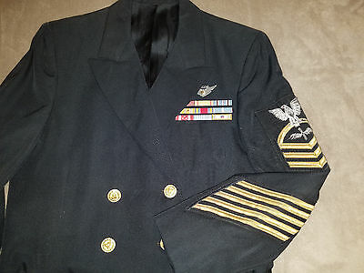 US Navy Service Dress Blue Uniform Chief WW2 Korea Ribbons Coat pants Air Crew