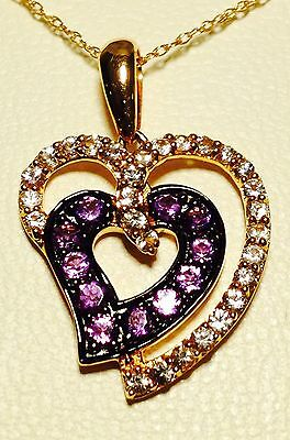 "$1900 LeVian 14k Rose Gold, White Sapphires & Amethyst,  Necklace 18"" (66%OFF)"