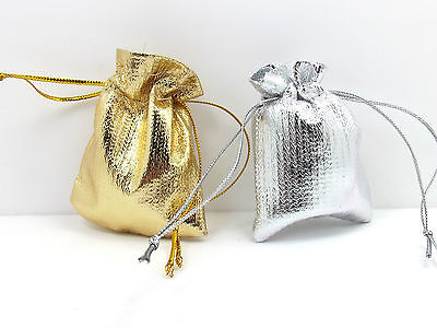 10X Small Gift Bags Pouch Cloth Drawstring Jewellery Earring Wedding Multi Sizes