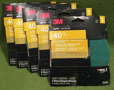 """Lot Of 5 Pks (5 In a pack) 3M 6"""" 40 Grit Greencorps  Sanding Discs 31547 (GA1)"""
