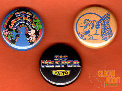 """Set of three 1"""" Zoo Keeper pins buttons  Taito arcade"""