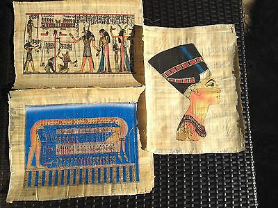 """3 Egyptian Hand-painted Papyrus Artwork: 12"""" x 16 """""""