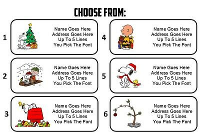 Custom Personalized Charlie Brown Christmas Snoopy Return Address Mailing Labels
