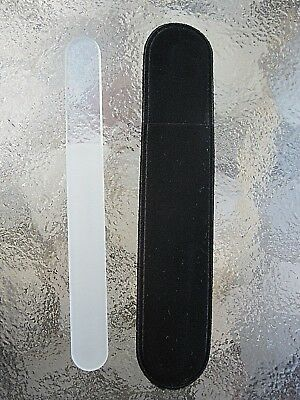 """Mont Bleu Czech Made Crystal Glass Nail File Rounded Ends  Purse Size 3 1/2"""" New"""