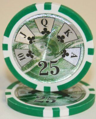 Get 1 Free Buy 2 100 Green $25 High Roller 14g Clay Poker Chips New